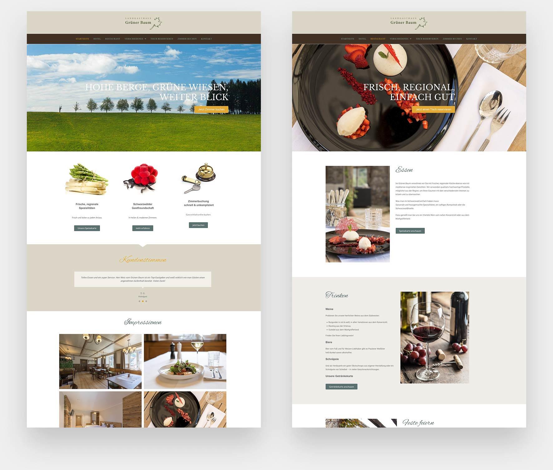 Webdesign Hotel Grüner Baum