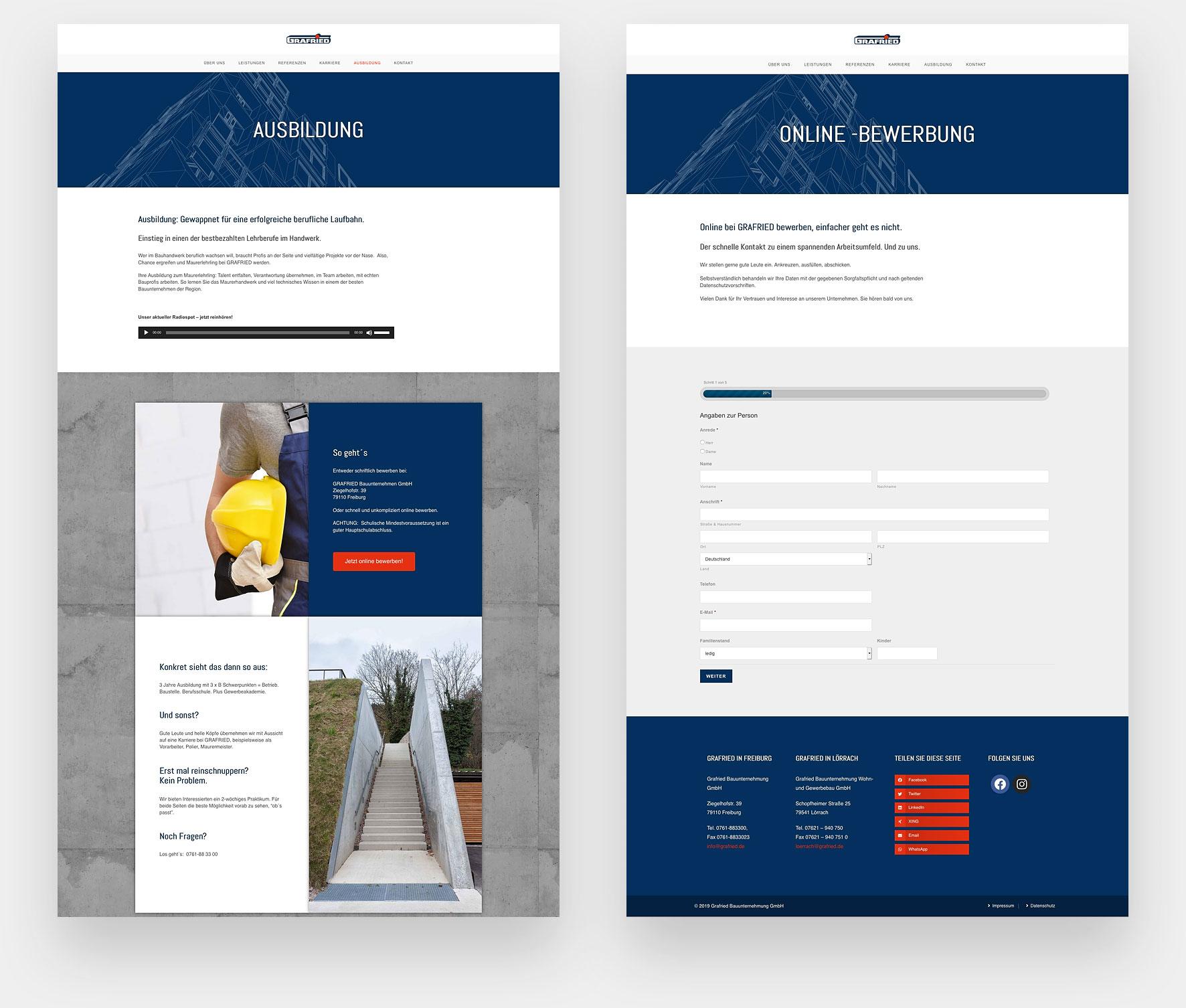 Webdesign Freiburger Bauunternehmen Grafried